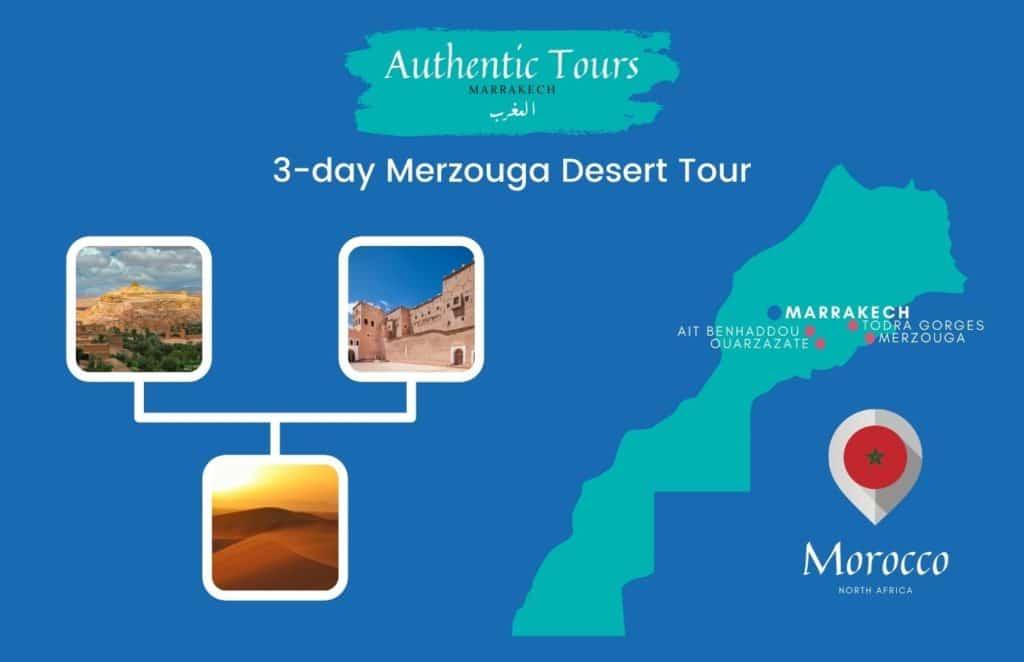Map 3-day Merzouga desert tour in Morocco