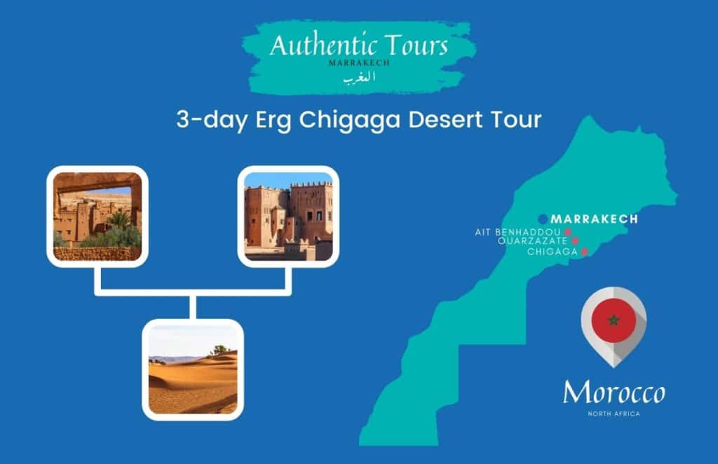 Map 3-day Mhamid desert tour in Morocco