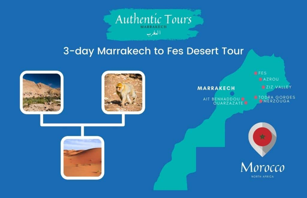 Map 3 days marrakech to Fes desert tour