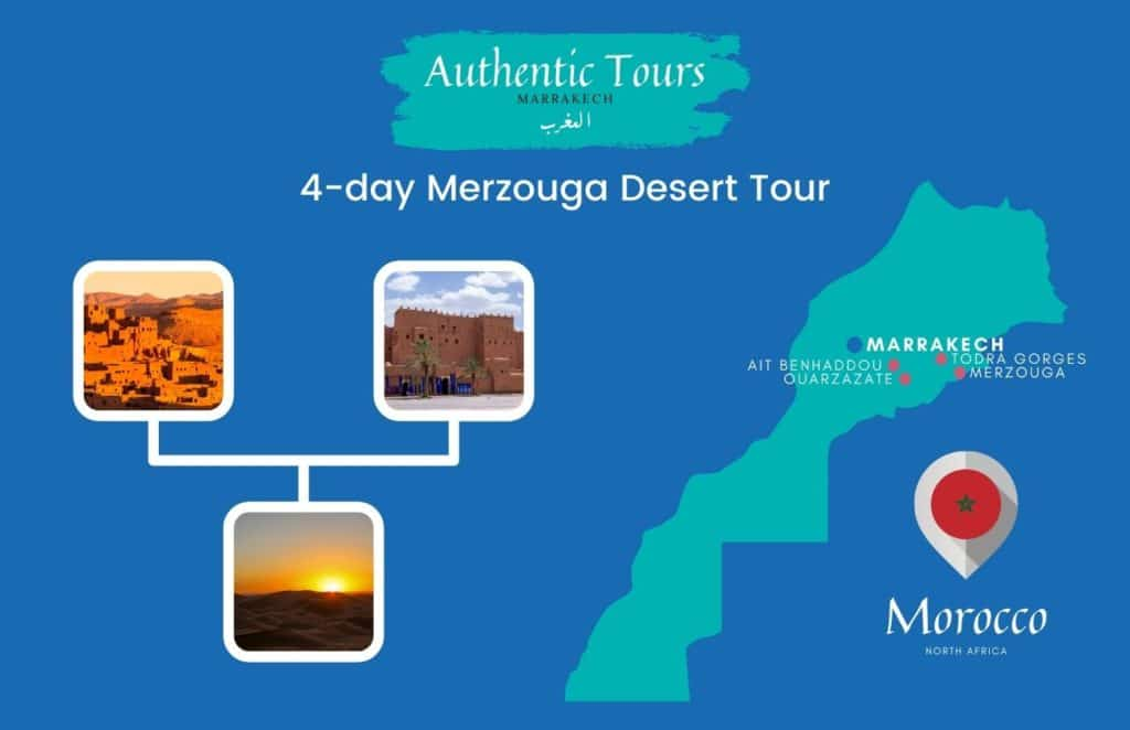 Map 4-day Merzouga desert tour in Morocco