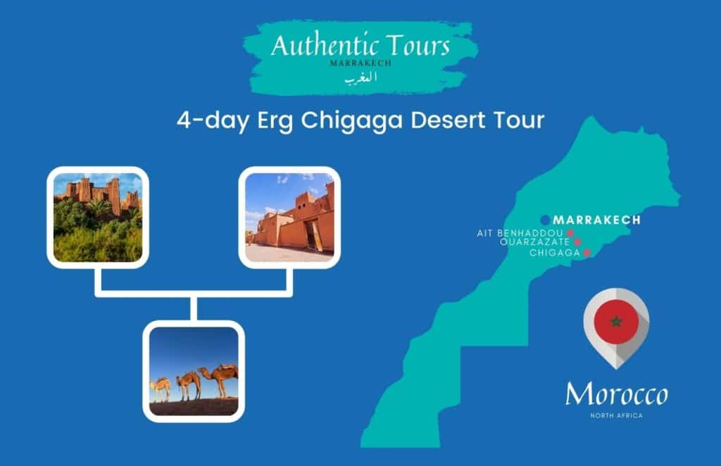 Map 4-day Mhamid desert tour in Morocco