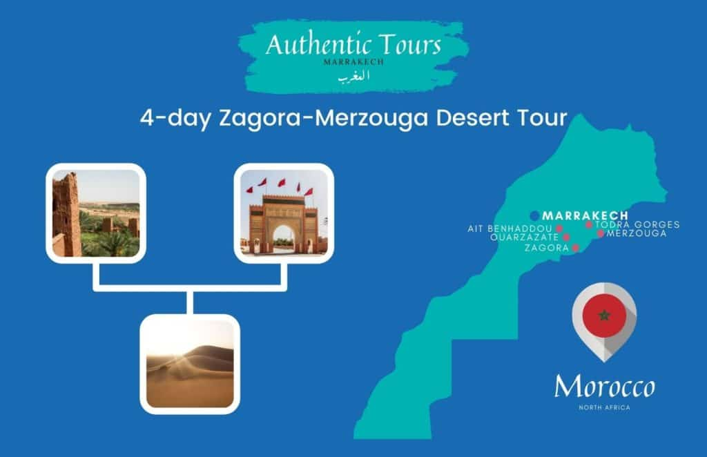 Map 4-day Zagora Merzouga desert tour in Morocco