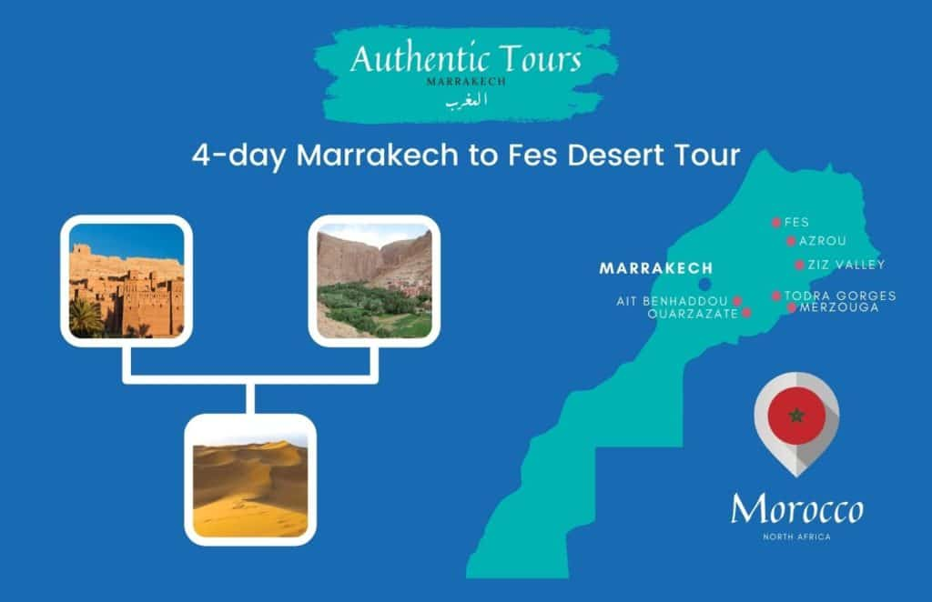 Map 4 days marrakech to Fes desert tour