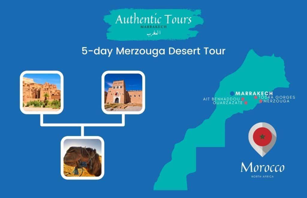 Map 5-day Merzouga desert tour in Morocco