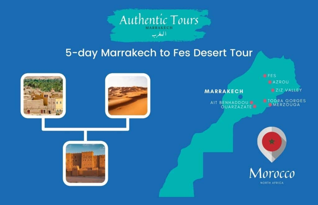 Map 5 days marrakech to Fes desert tour