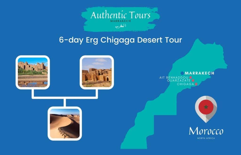 Map 6-day desert tour in Morocco​