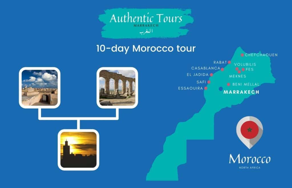 Map of 10-day Morocco tour