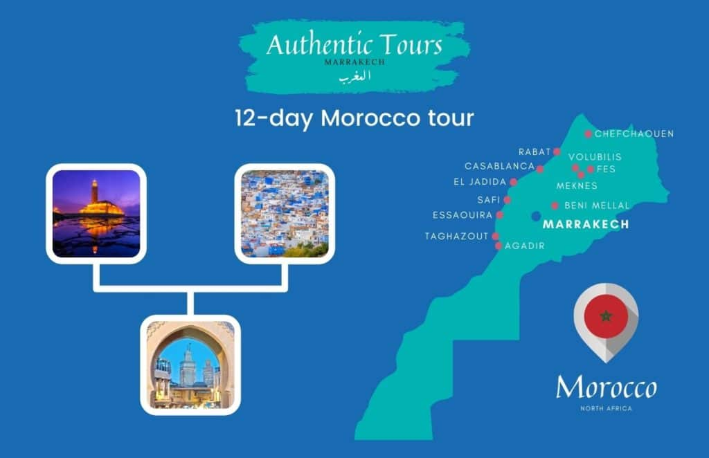 Map of 12-day Morocco tour
