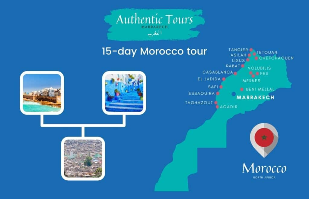 Map of 15-day Morocco tour