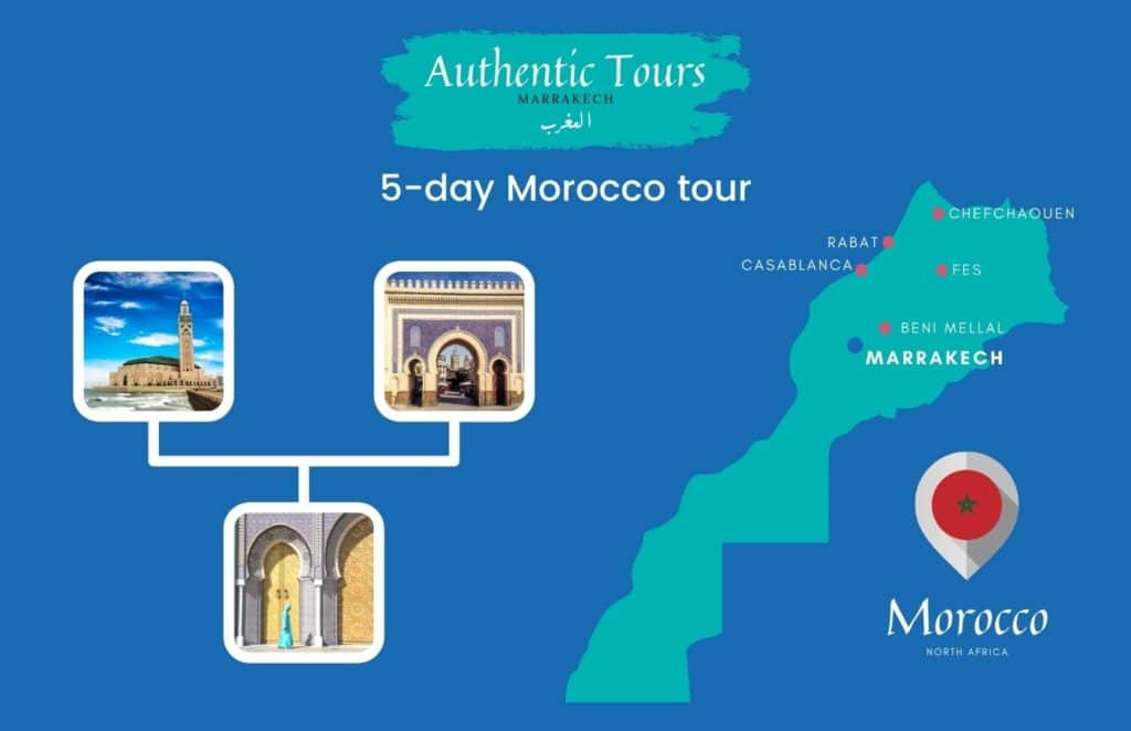 Map of 5-day Morocco tour