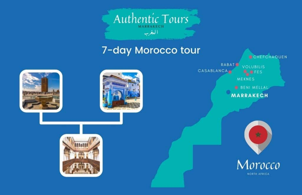 Map of 7-day Morocco tour